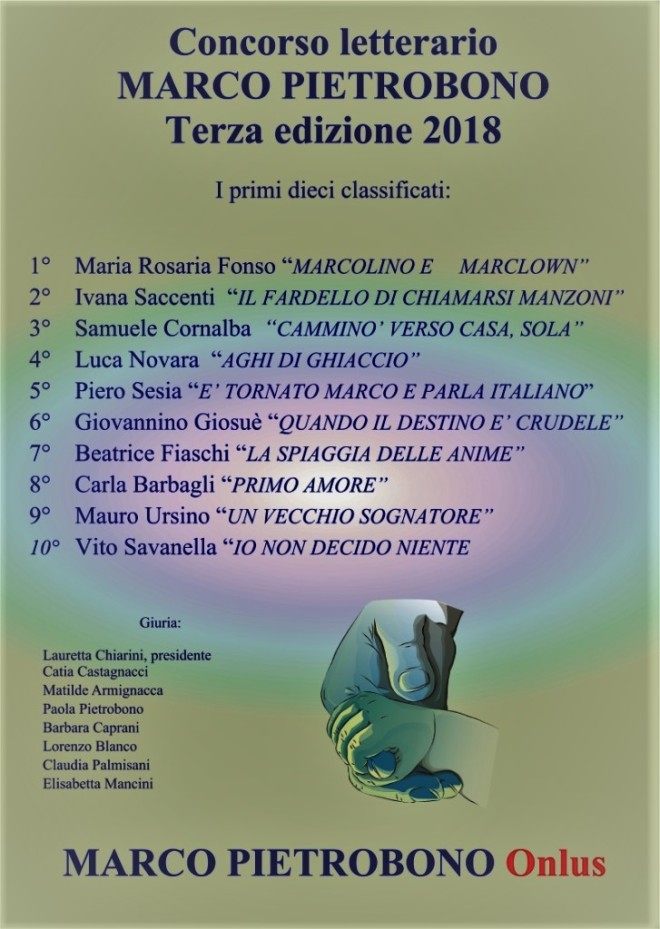 2018-12-01 Premio letterario 2018 Primi 10 classificat